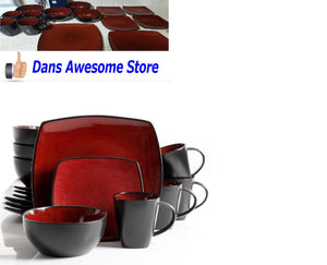 Dinnerware Dishes Set 16 Piece 4 Dinner Plates 4 Dessert Plates 4 Bowls 4 Cups - Dans Awesome Store