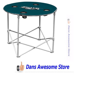 Logo Brands Philadelphia Eagles Collapsible Round Table with 4 Cup Holders and Carry Bag - Dans Awesome Store