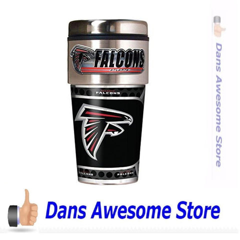 Great American Products NFL Atlanta Falcons Metallic Travel Tumbler, Stainless Steel and Black Vinyl, 16-Ounce - Dans Awesome Store