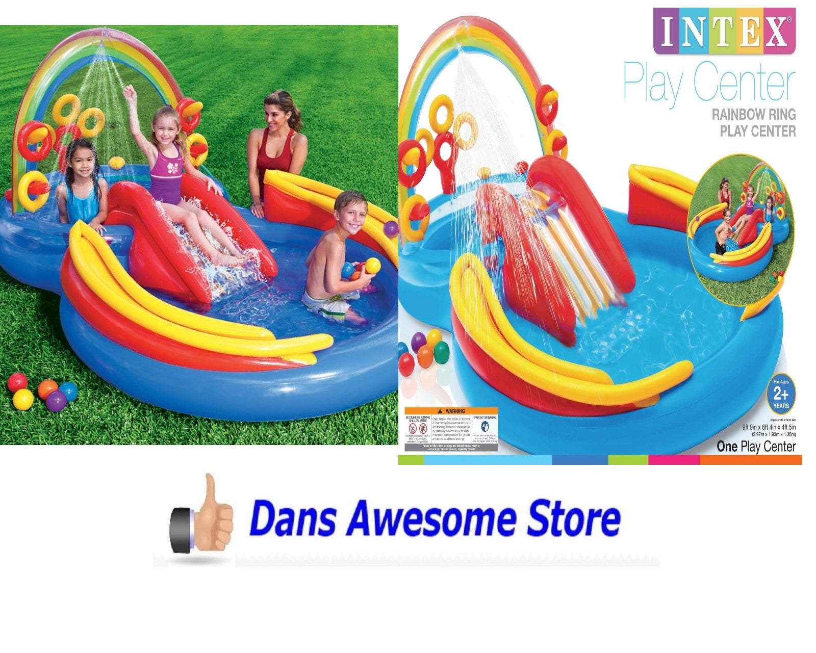 Intex Inflatable Kids Pool Rainbow Ring Water Play Center Swimming Pool - Dans Awesome Store