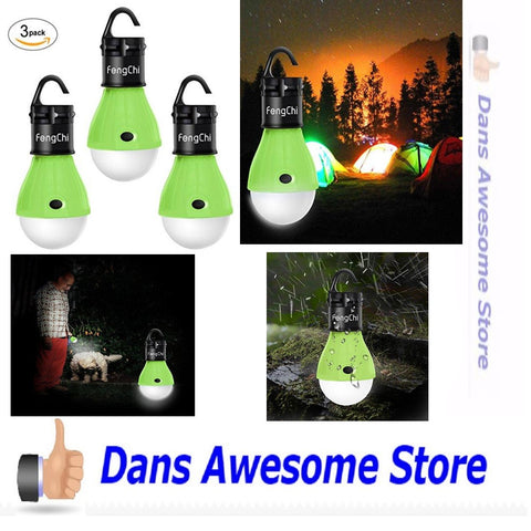 LED Camping Lantern, FengChi[3 PACK] Portable Outdoor Tent Light Emergency Light Bulb for Camping, Hiking, Fishing,Hurricane, Storm, Outage - Dans Awesome Store