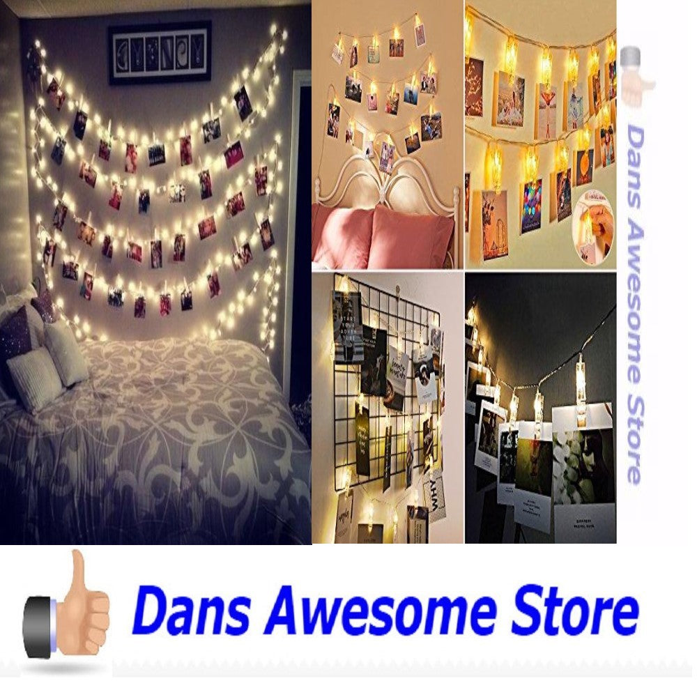 20 LED Photos Clips String Lights (10ft. Warm White) AOSTAR Battery Operated Fairy String Lights for bedroom Hanging Photos, Cards and Artworks - Dans Awesome Store