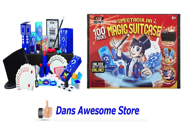 Children Magic Show Spectacular Suitcase 100 Tricks Props Hat Wand Deck of Cards - Dans Awesome Store