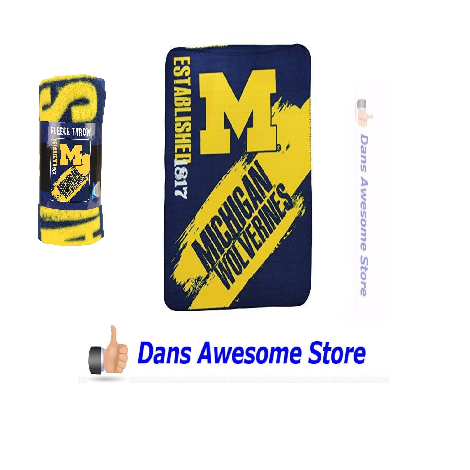 "NCAA Collegiate School Logo Fleece Blanket Michigan Wolverines, 50"" x 60"" - Dans Awesome Store"