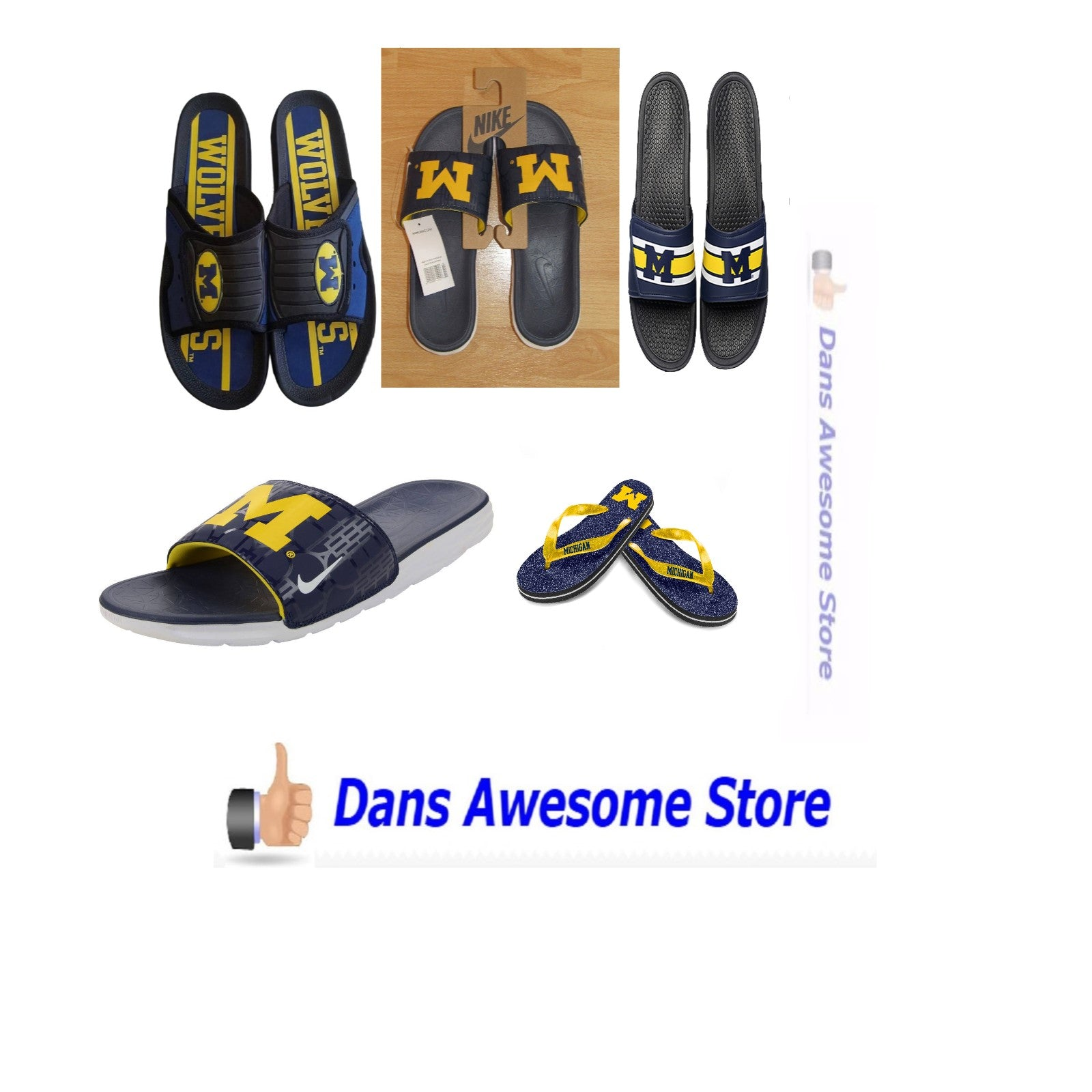 Michigan Wolverines Flip Flops Sandals Slides - Dans Awesome Store