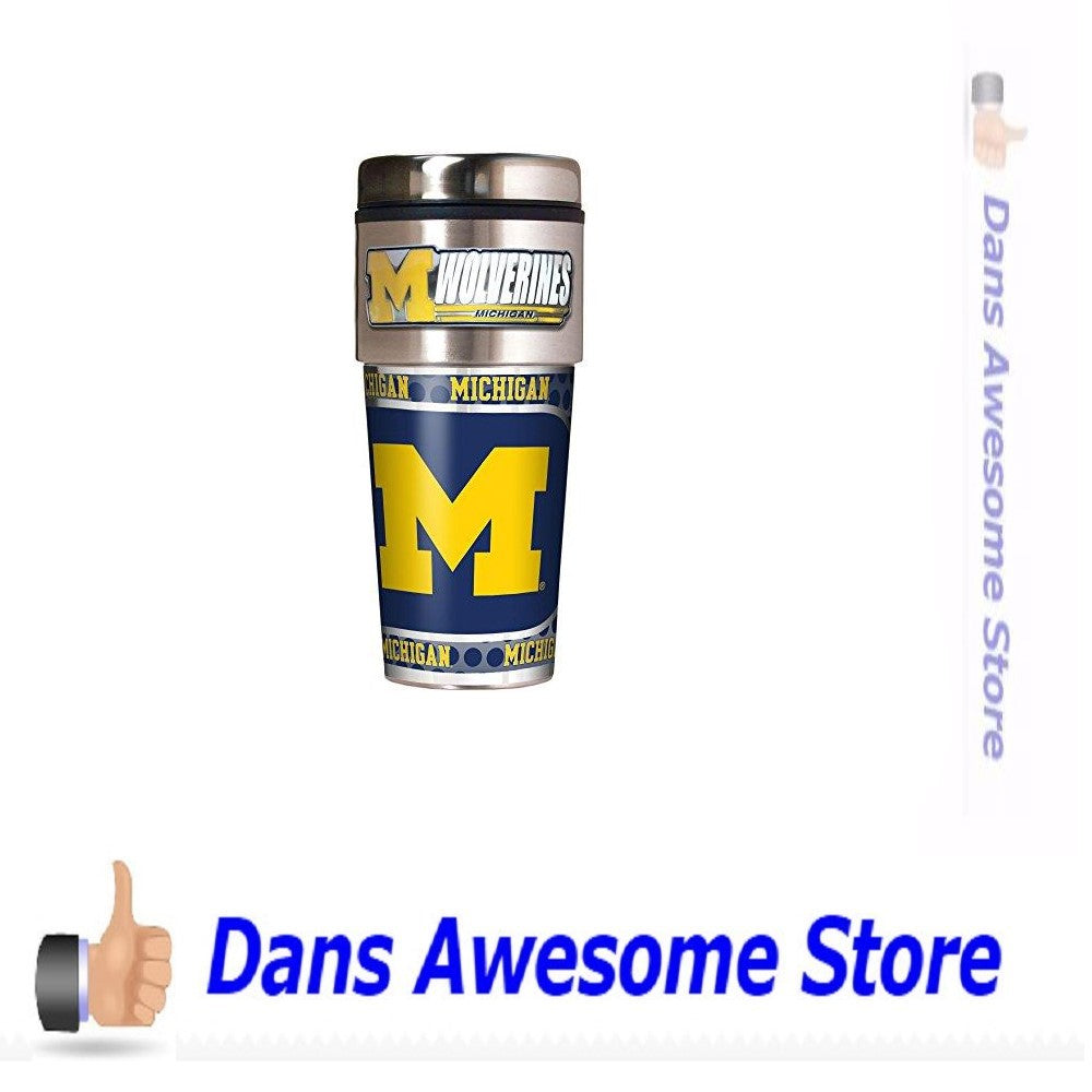 NCAA Michigan Wolverines Metallic Travel Tumbler,  16-Ounce - Dans Awesome Store