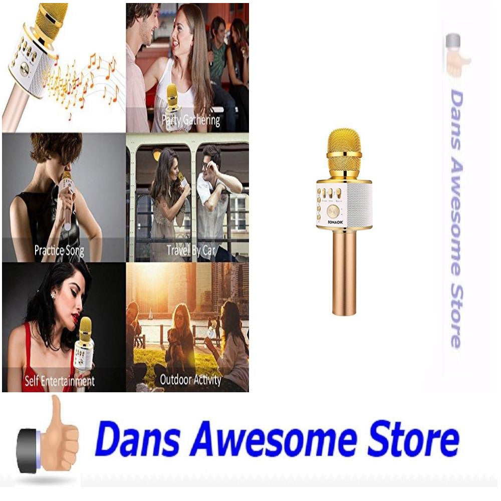 Wireless Bluetooth Karaoke Microphone, 3-in-1 Portable Hand microphone Speaker Machine for iPhone/Android/iPad/Sony/PC or All Smartphone(Gold) - Dans Awesome Store