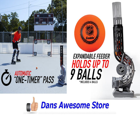 "NHL Automatic ""One-Timer"" Hockey Passer - Includes Four Street Hockey Balls - Dans Awesome Store"