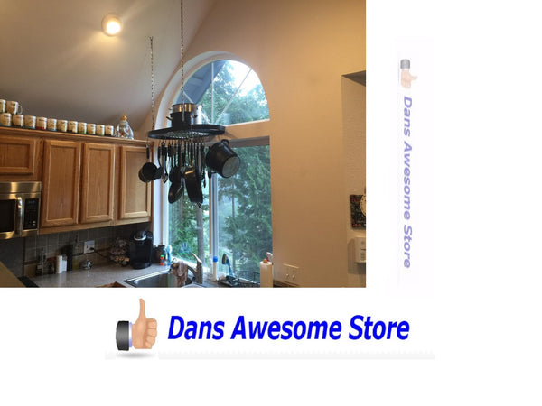 Pot Rack Iron Oval Ceiling Pan Organizer Mount Hanger Holder Cookware Hanging - Dans Awesome Store