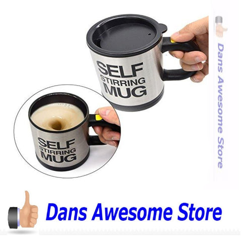 Self Stirring Coffee Mug - Self Stirring, Electric Stainless Steel Automatic Self Mixing Cup and Mug- Cute & Funny, Best for Morning, Travelling, Home, Office, Men and Women - Dans Awesome Store