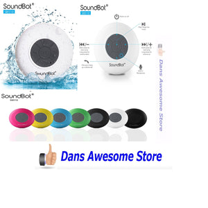 SoundBot SB510 HD Water Resistant Bluetooth 3.0 Shower Speaker, Handsfree Portable Speakerphone with Built-in Mic, 6hrs of playtime, Control Buttons and Dedicated Suction Cup for Showers, Bathroom, Pool, Boat, Car, Beach, & Outdoor Use (White) - Dans Awesome Store