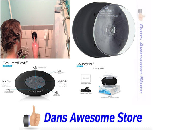 SoundBot SB510 HD Water Resistant Bluetooth 3.0 Shower Speaker, Handsfree Portable Speakerphone with Built-in Mic, 6hrs of playtime, Control Buttons and Dedicated Suction Cup for Showers, Bathroom, Pool, Boat, Car, Beach, & Outdoor Use - Dans Awesome Store