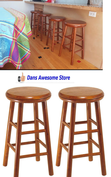2 Pc Kitchen Bar Wood Stool Pub Furniture Swivel Seat Set Chair Counter Height - Dans Awesome Store