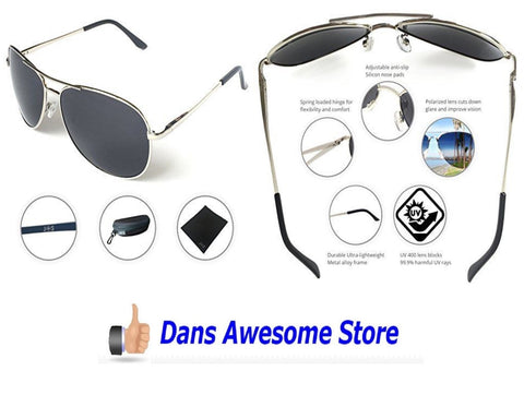 J+S Premium Military Style Classic Aviator Sunglasses, Polarized, 100% UV protection (Large Frame - Silver Frame/Black Lens) - Dans Awesome Store