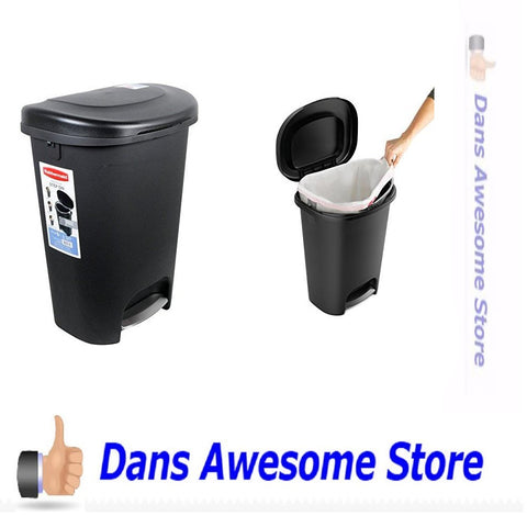 Rubbermaid Step-On Wastebasket, 13 Gallon - Black - Dans Awesome Store