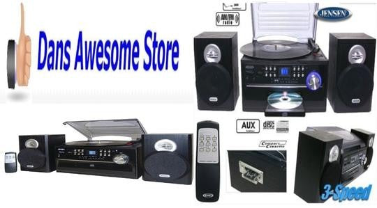 Jensen Home Shelf Stereo Record Player System With Speakers iPod Aux Vinyl CD