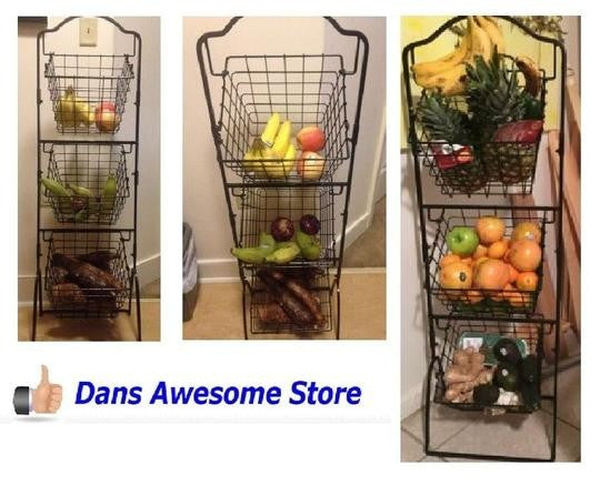 3 Tier Rack Kitchen or Garden Plants Organizer Fruit Vegetable Holder Wire Storage Basket Shelf