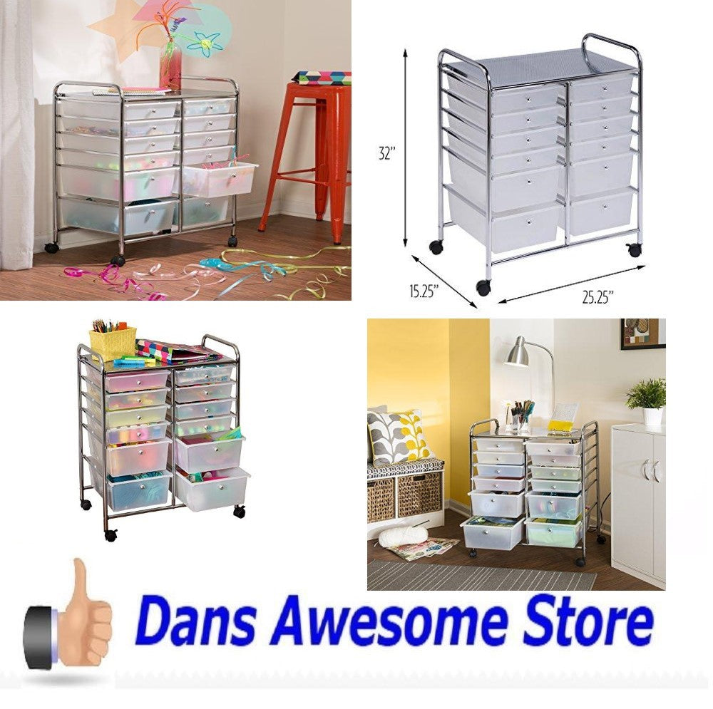 Rolling Storage Cart and Organizer with 12 Plastic Drawers Space Save