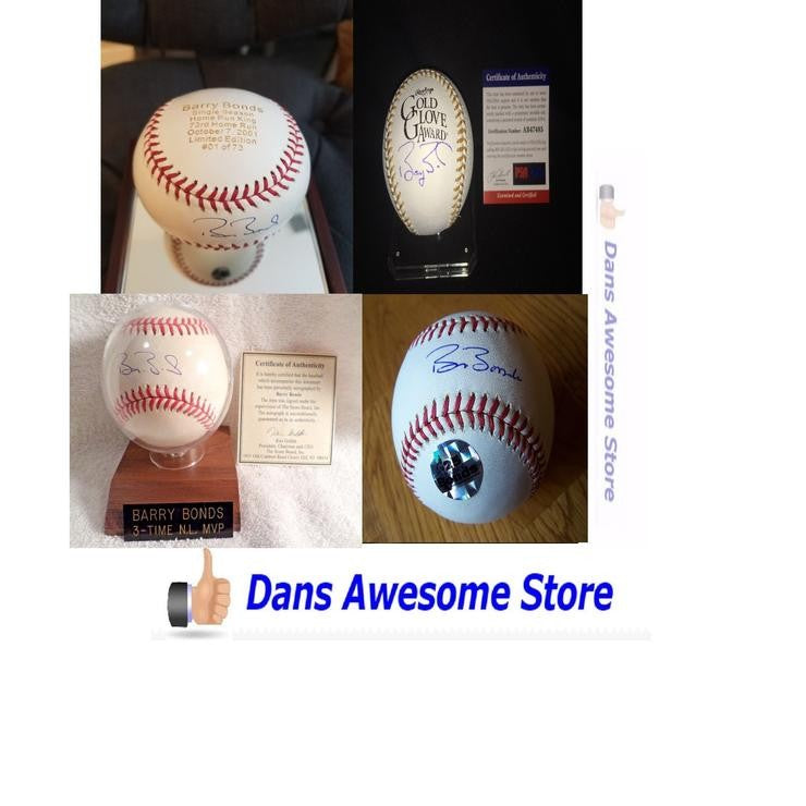 Barry Bonds Autographed Baseball Home Run Record King HOF All Star MLB