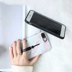 Soft Silicon Marble Ring Phone Case For iphone 6 6S 7 8 X