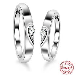 925 Sterling Silver Heart Couple Rings
