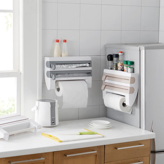 Multifunctional Kitchen Wrap Cutting Paper Towel Holder & Kitchen Organizer