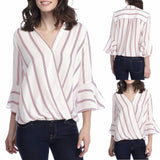 3/4 Sleeve Casual Striped Blouse
