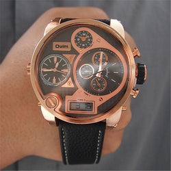 Luxury Rose Gold Triple Time Zone Men Watch