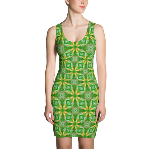 "Kaleidoscope ""Green Flower"" - Sublimation Cut & Sew Dress"
