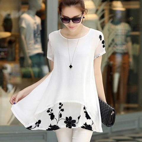 Chiffon Blouse Loose Short Sleeve Embroidery Flower Print