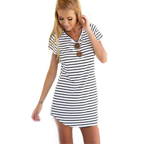 Loose Black-White Striped Dress