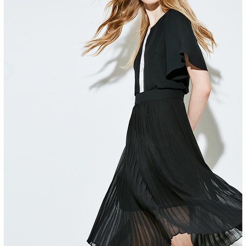 Chiffon Dress O-Neck Collar Batwing Sleeve Pleated Knee-Length