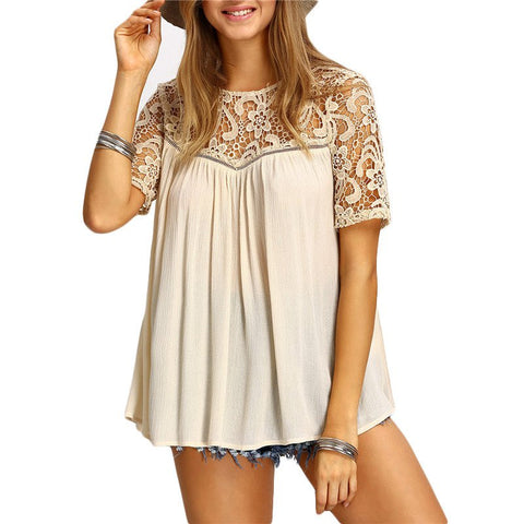 Crochet Short Sleeve O-Neck Patchwork Loose Blouse