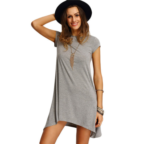 Grey Asymmetric Hem Casual Round Neck Short Sleeve Shift Tees Dress