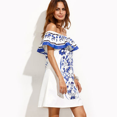 Boho Ladies Multicolor Print Ruffle Off The Shoulder Shift Dress