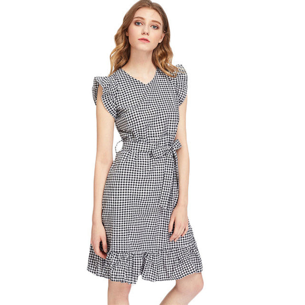 Gingham Style! - V Neck Very Cute 2017 Dress