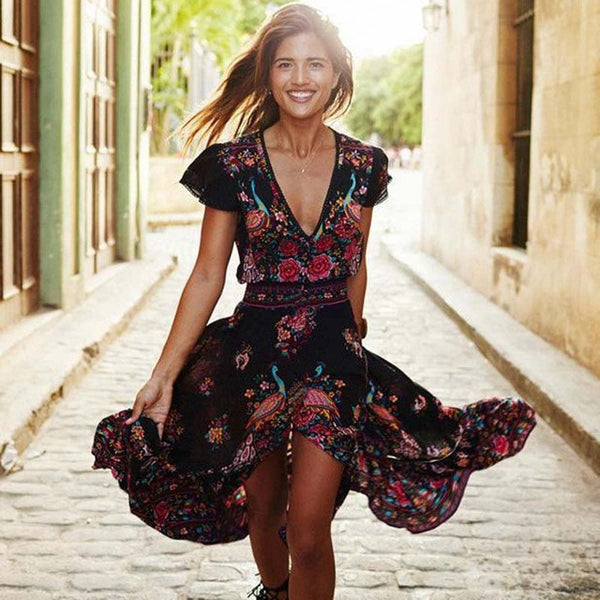 Vintage Boho Long Maxi Floral Chiffon Dress