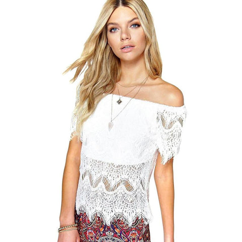 JECKSION Women's Cute Sexy Lace Off Shoulder Crop Shirt Tops