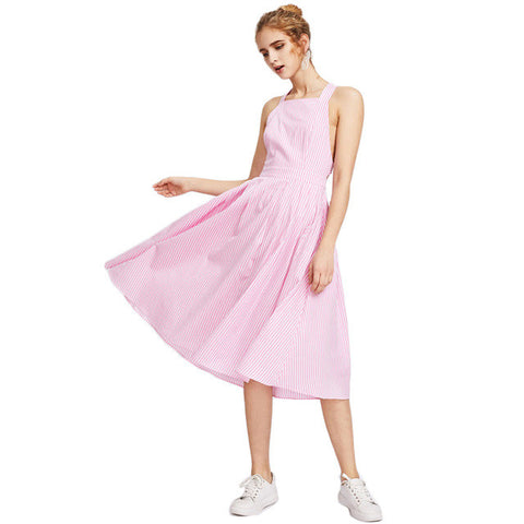 Pink Striped Crisscross Back, Summer Dress Sleeveless Square Neck