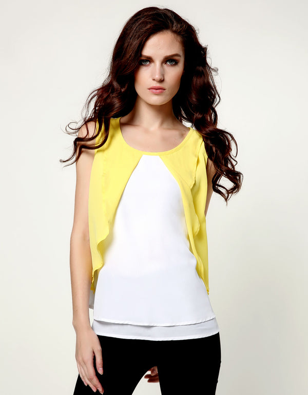 Double Layer Tank Tops Camisole Sleeveless O-Neck