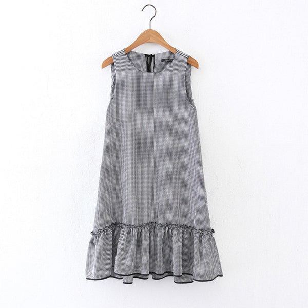 Gingham Loose Sleeveless Casual Dress