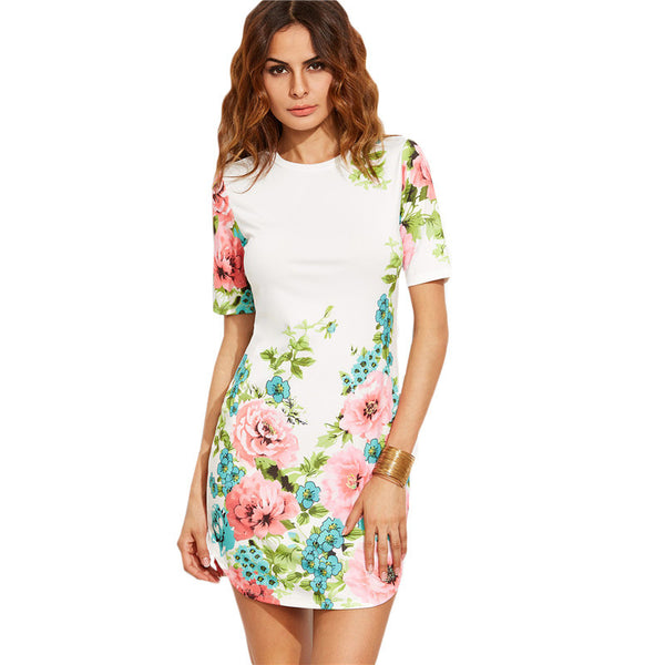 Multicolor Floral Print Round Neck Short Sleeve Bodycon Dress