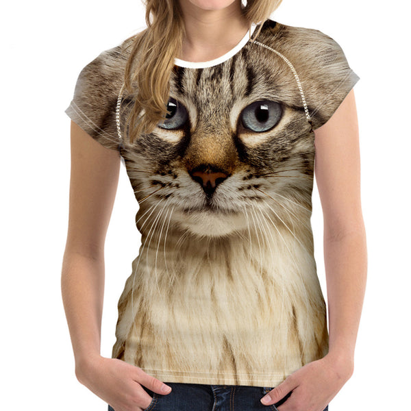 Amazing Cats T-Shirt Round Neck Short Sleeve Tops Tee with cats