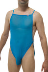 Thong Bodysuit Aubin Net Blue