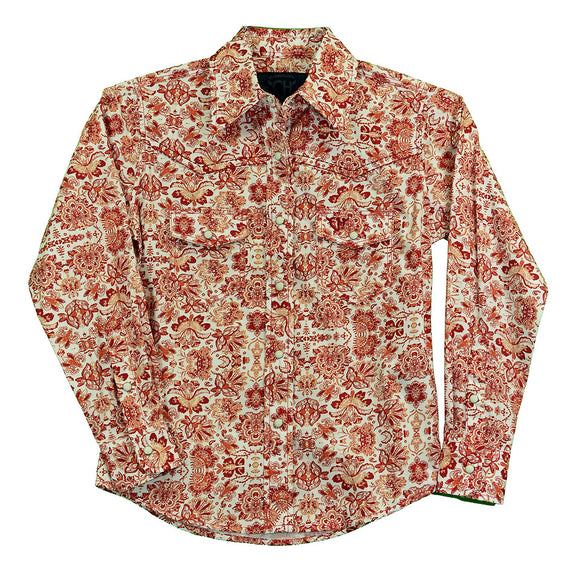 COWGIRL HARDWARE RUST FLORAL GIRLS WESTERN SHIRT