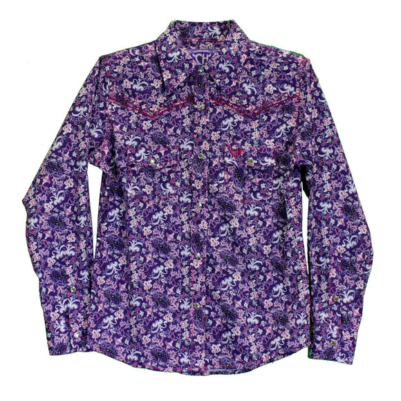 COWGIRL HARDWARE PURPLE FLORAL TODDLER GIRLS WESTERN SHIRT