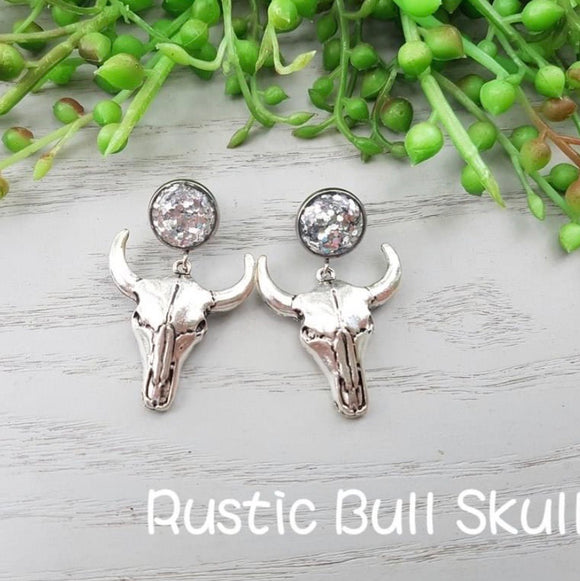 GLITTER BULLSKULL COWGIRL EARRINGS