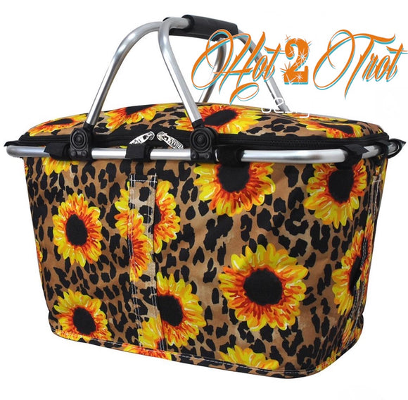 LEOPARD SUNFLOWER INSULATED BASKET **PREORDER**