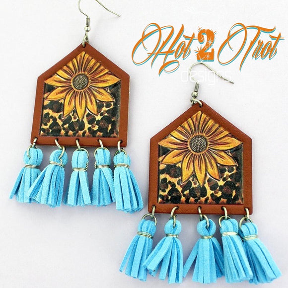 SUNFLOWER TURQUOISE TASSEL EARRINGS