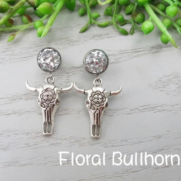 GLITTER FLORAL SKULL COWGIRL EARRINGS